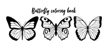 Vector illustration of black and white butterfly contour. Coloring book template.  royalty free illustration