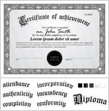 Vector illustration of black and white certificate. Royalty Free Stock Photo