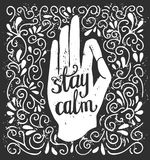 Vector meditation illustration with lettering. Vector illustration in black and white colors with hand in meditation pose and phrase Say Om. Isolated white Royalty Free Stock Image