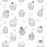 Black and white cupcakes pattern royalty free illustration
