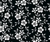 Vector illustration of black and white flowers and leafs ornament. Vector illustration of black and white flowers and leafs pattern. Seamless floral ornament Stock Photo