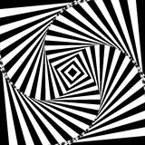 Vector illustration of black and white geometric background of increasing and rotating square creates an optical Royalty Free Stock Photography