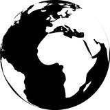 Vector illustration of black and white globe Royalty Free Stock Photo