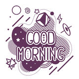 Vector illustration of black and white good morning quote Stock Photo