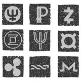 Vector illustration of black and white grunge icons with symbols of various digital electronic currencies - primecoin, ripple, nxt. Zcash, monero, zerocoin Royalty Free Stock Image