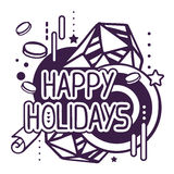 Vector illustration of black and white happy holidays quote Royalty Free Stock Photo