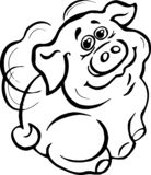 Vector, illustration, black and white image, piggy,wings behind the back, winged, smile, joy, positive. Vector illustration in black and white color piggy vector illustration