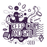 Vector illustration of black and white keep calm and smile quote Royalty Free Stock Photography