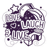 Vector illustration of black and white love laugh live quote. On abstract background. Hand draw line art design for web, site, advertising, banner, poster royalty free illustration