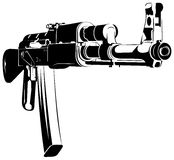 Vector illustration black and white machine gun ak. 47 on white background royalty free illustration