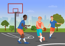 Vector illustration of black and white people playing streetball on the playground. Vector illustration of black and white people playing streetball on the vector illustration
