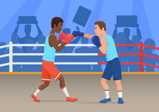 Vector illustration of black and white sportsmen boxing in ring. Royalty Free Stock Image