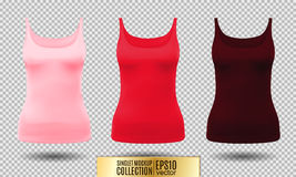 Vector illustration of black and white tank top or singlet. Pink red and vinous colors. Realistic vector objects Stock Photography