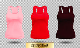 Vector illustration of black and white tank top or singlet. Pink red and vinous colors. Realistic vector objects Stock Photo