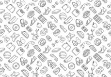 Sport, fitness, functional training background seamless doodle icons style pattern. Vector illustration Black and white thin line Sport, fitness, functional stock illustration