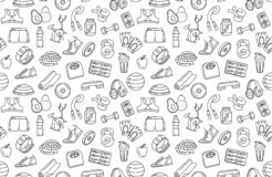 Sport, fitness, functional training background seamless doodle icons style pattern. Vector illustration Black and white thin line Sport, fitness, functional royalty free illustration