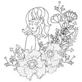 Vector Illustration Black and White Woman with flowers. coloring pages for adults. Coloring book.Card,print. doodle style Royalty Free Stock Image
