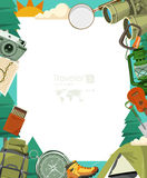 Vector illustration with blank paper and equipments for Hiking and camping. Royalty Free Stock Photo