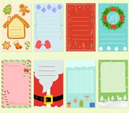 Vector illustration of blank simple hand drawn Christmas card in. Vitation, set of cute pastel festive label in different elements, holiday decorating on pale Royalty Free Stock Image