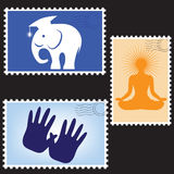 Vector illustration of a blanks post stamps Stock Images