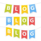 Vector illustration of Blog word on pennants on rope.  Royalty Free Stock Photography