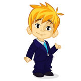 Vector illustration of a blond boy in man's clothes. Cartoon of a young boy dressed up in a mans business suit Royalty Free Stock Photo