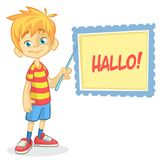 Vector illustration of blond boy in shorts and striped t-shirt. Cartoon of a young boy dressed up presenting. On a board with pointer Stock Photography