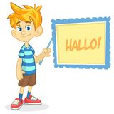 Vector illustration of blond boy in shorts and striped t-shirt. Cartoon of a young boy dressed up presenting Stock Image