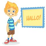 Vector illustration of blond boy in shorts and striped t-shirt. Cartoon of a young boy dressed up presenting on a board with point Royalty Free Stock Images