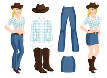 Vector illustration of blond cowgirl. Royalty Free Stock Photos
