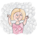 Vector illustration of a blonde smiling woman rising hands up. H Royalty Free Stock Photo