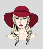 Face of blonde woman with hat Stock Photography