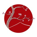 Vector illustration - blooming sakura tree. Vector hand drawn illustration in line art style - blooming sakura tree in classic spring Japan landscape. Card Royalty Free Stock Photos