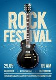 Vector illustration blue rock festival concert party flyer or poster design template with guitar, place for text and cool effects. In the background Stock Images