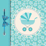Vector illustration of blue baby carriage Royalty Free Stock Images