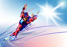 Vector illustration blue background in a geometric triangle of XXIII style Winter games. Olympic speedskater athlete speed skating. Ice arena from triangle royalty free illustration