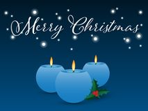 Christmas background with candle and holly berry. Vector illustration of blue candle with fire, holly berry and Merry Christmas text in white color on blue stock illustration