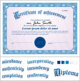 Vector illustration of blue certificate. Template. Stock Photos