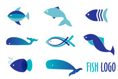 Vector illustration of blue colors fishes. Abstract fish logo set for seafood restaurant or fish shop. Stock Image
