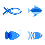 Vector illustration of blue colors fishes. Abstract fish logo set for seafood restaurant or fish shop Royalty Free Stock Photo