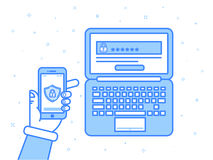 Vector illustration in blue colors flat outline linear style. Multi factor authentication, online access control. Hand holding mobile phone with password and Stock Photos