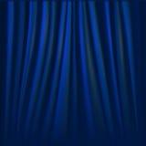 Vector illustration of blue curtain. Stock Photos