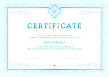 Vector illustration of blue detailed certificate Royalty Free Stock Photo