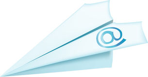 Vector illustration of blue E-mail airplane  Royalty Free Stock Photo