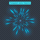 Vector illustration of blue fireworks, transparent light effect,. New year, holiday Royalty Free Stock Images