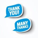 Vector Illustration blue grateful Thank you bubbles set. Blue grateful Thank you bubbles set Royalty Free Stock Photos
