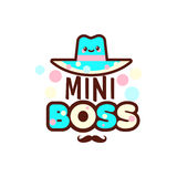 The vector illustration of blue hat and the mini boss text with stylish mustache below. Gift for boy. Royalty Free Stock Photography