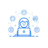 Vector illustration of blue icon in flat line style. Graphic design concept of woman financial accountant. Vector illustration of blue icon in flat line style Royalty Free Stock Image