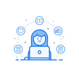 Vector illustration of blue icon in flat line style. Graphic design concept of woman financial accountant. Royalty Free Stock Photos