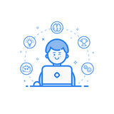 Vector illustration of blue icon in flat line style. Linear cute and happy man with laptop. Royalty Free Stock Photos